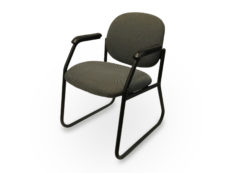 Office Furniture Outlet Preowned Green Side patterns side/Guest Chair With black Metal Base