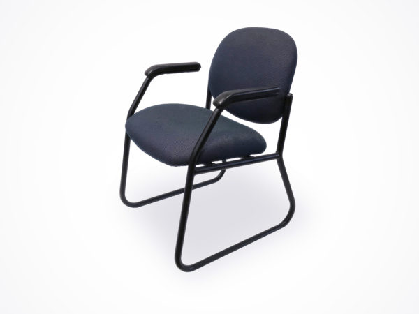 Find used dark blue side/guest chair with black metal bases at Office Furniture Outlet