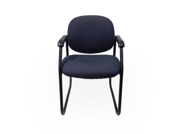 Office Furniture Outlet Preowned Dark Blue Side/Guest Chair With black Metal Base