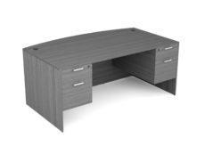 Find used KUL 3641x71 bow desk w/ 2bf ped (gry)s at Office Furniture Outlet