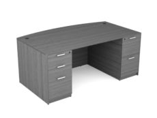 Find used KUL 3641x71 bow desk w/ 1bbf and 1ff ped (gry)s at Office Furniture Outlet
