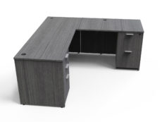 Find used KUL 66x72l desk w/ 1bbf and 1ff ped (gry)s at Office Furniture Outlet