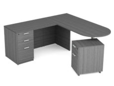 Find used KUL 71x72 d-top l-shape desk w1 bbf and 1 mobile ped bf (gry)s at Office Furniture Outlet
