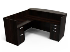 Find used KUL 71x72 l-shape reception desk (left) w 1bbf and 1ff ped (esp)s at Office Furniture Outlet