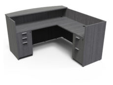 Find used KUL 71x72 l-shape reception desk (right) w 1 bbf and 1 ff ped (gry)s at Office Furniture Outlet