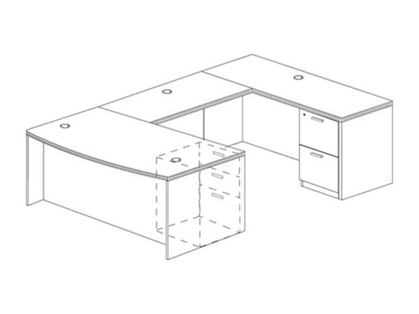Office Furniture Outlet New 71x108 Bow Front U-Shape Desk