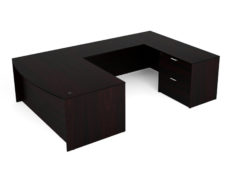 "Find used KUL 71x108 bow front u-shape desk w 1bbf ped and 1 30"" 2 drawer (esp)s at Office Furniture Outlet"