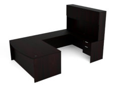 Find used KUL 71x108 bow front u-shape desk + hutch (wood doors) w 2 bf ped (esp)s at Office Furniture Outlet