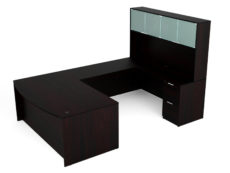 Find used KUL 71x108 bow front u-shape desk + hutch (glass doors) w 1bbf and 1ff ped (esp)s at Office Furniture Outlet