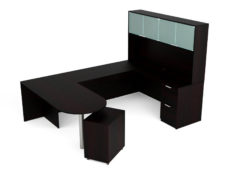 Find used KUL 71x102 d-top u-shape desk + hutch (glass doors) w 1ff and 1 bf ped (esp)s at Office Furniture Outlet