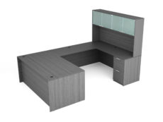 Find used KUL 71x108 u-shape desk + hutch (glass doors) w 1bbf and 1ff ped (gry)s at Office Furniture Outlet